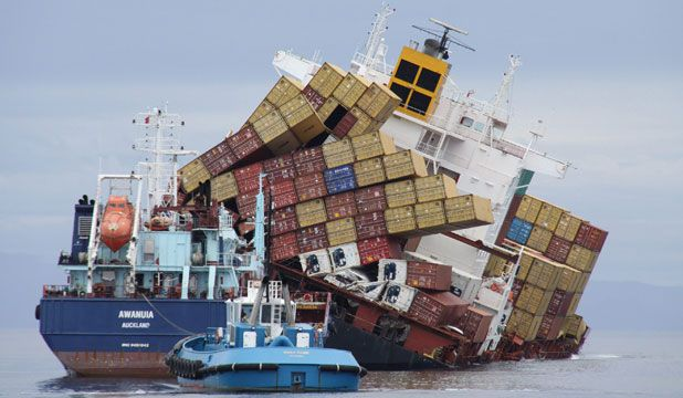 over weight container vessel accident